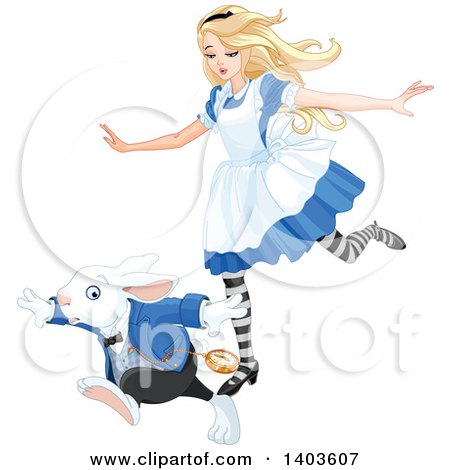Clipart of Alice in Wonderland Running with the White Rabbit - Royalty Free Vector Illustration by Pushkin