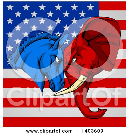 Clipart of a Political Aggressive Democratic Donkey or Horse and Republican Elephant Butting Heads over an American Flag - Royalty Free Vector Illustration by AtStockIllustration