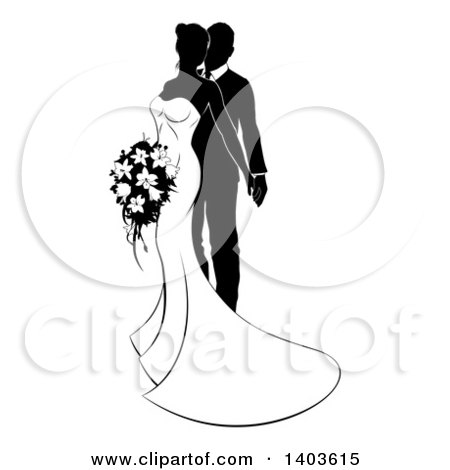 Clipart of a Black and White Posing Bride and Groom - Royalty Free Vector Illustration by AtStockIllustration