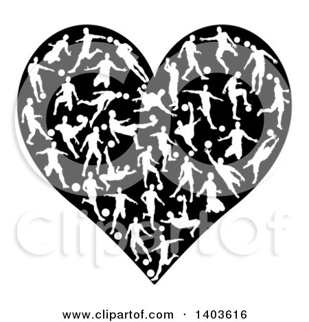Clipart of a Black Heart Formed of White Silhouetted Soccer Players - Royalty Free Vector Illustration by AtStockIllustration