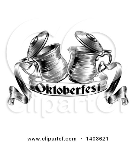 Clipart of Black and White Woodcut or Engraved Beer Steins or Tankards Chinking Together in a Toast over an Oktoberfest Ribbon Banner - Royalty Free Vector Illustration by AtStockIllustration