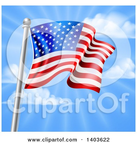 Clipart of a 3d Rippling American Flag on a Silver Pole Against Blue Sky with Rays - Royalty Free Vector Illustration by AtStockIllustration