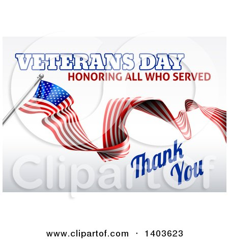 Clipart of a 3d Long Rippling American Flag with Veterans Day Honoring All Who Served Thank You Text on Gray - Royalty Free Vector Illustration by AtStockIllustration