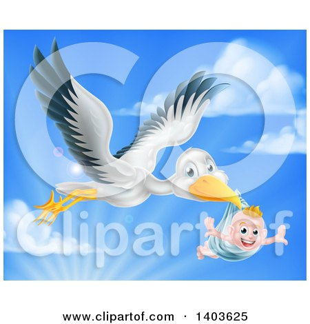 Clipart of a Stork Bird Flying a Happy Baby Boy Holding His Arms out in a Blue Bundle Against Sky - Royalty Free Vector Illustration by AtStockIllustration