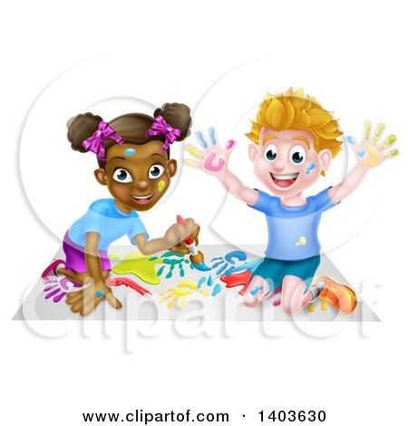 Cartoon Happy White Boy and Black Girl Painting Artwork Posters, Art Prints