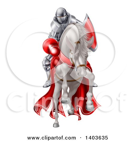 Clipart of a 3d Fully Armored Medieval Jousting Knight Holding a Lance on a Horse As They Charge Forward - Royalty Free Vector Illustration by AtStockIllustration