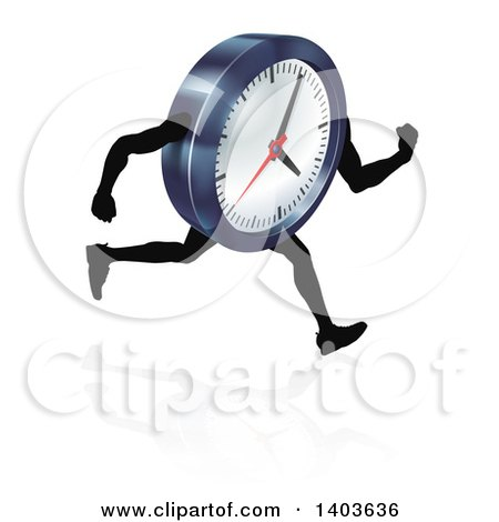 Clipart of a 3d Running Wall Clock Character - Royalty Free Vector Illustration by AtStockIllustration
