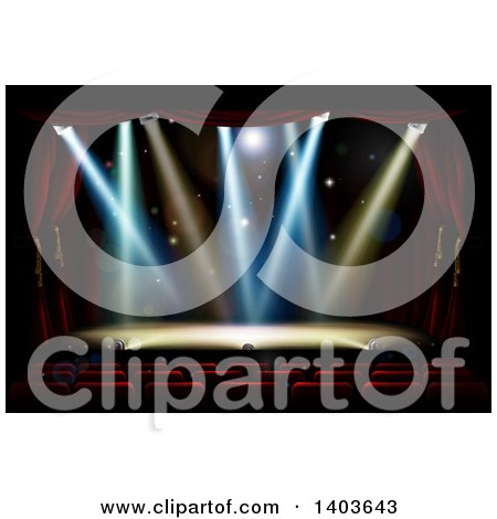 Clipart of a Silhouetted Theater Audience Facing a Stage with Lights - Royalty Free Vector Illustration by AtStockIllustration
