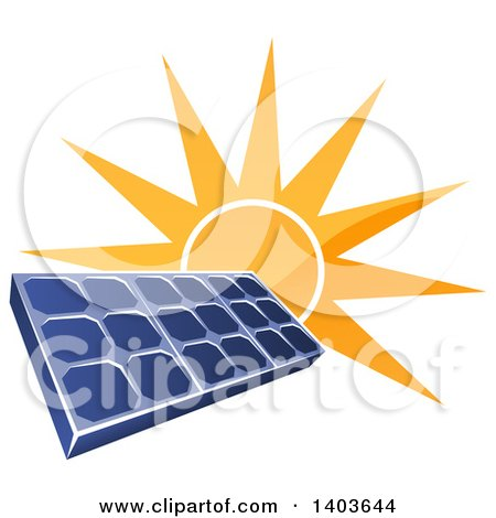Clipart of a Shiny Orange Sun Shining Behind a Blue Solar Panel Photovoltaics Cell - Royalty Free Vector Illustration by AtStockIllustration
