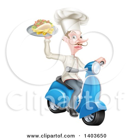 Clipart of a White Male Chef with a Curling Mustache, Holding a Souvlaki Kebab Sandwich on a Scooter - Royalty Free Vector Illustration by AtStockIllustration