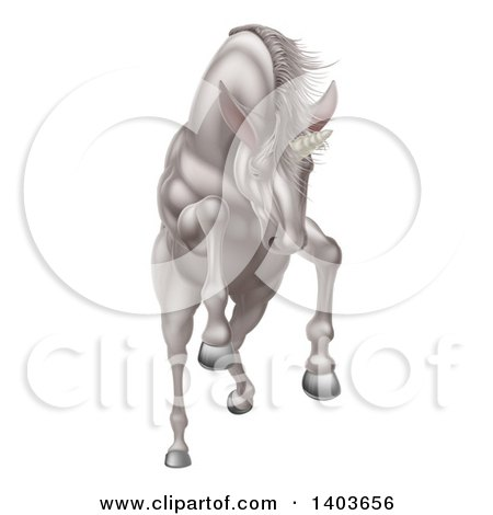 Clipart of a Rearing, Charging or Jumping White Unicorn - Royalty Free Vector Illustration by AtStockIllustration