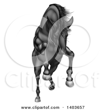 Clipart of a Charging, Jumping or Rearing Black Horse - Royalty Free Vector Illustration by AtStockIllustration