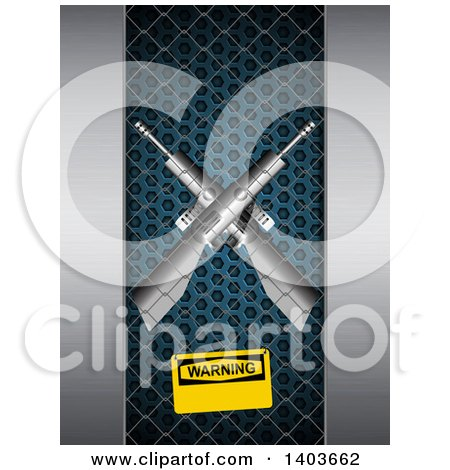 Clipart of a 3d Warning Sign on a Cage with Two Crossed Guns Inside - Royalty Free Vector Illustration by elaineitalia