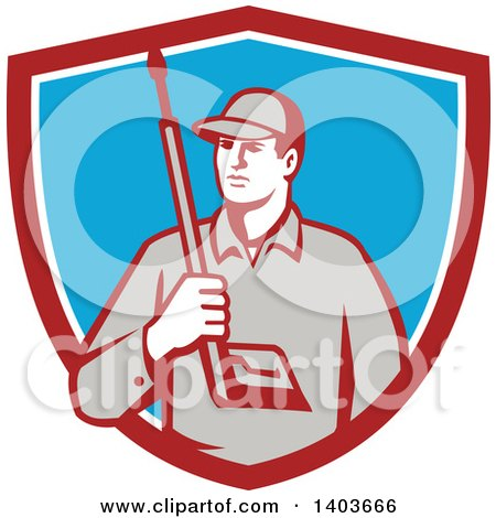 Clipart of a Retro Male Pressure Washer Worker Holding a Washing Gun in a Red White and Blue Shield - Royalty Free Vector Illustration by patrimonio