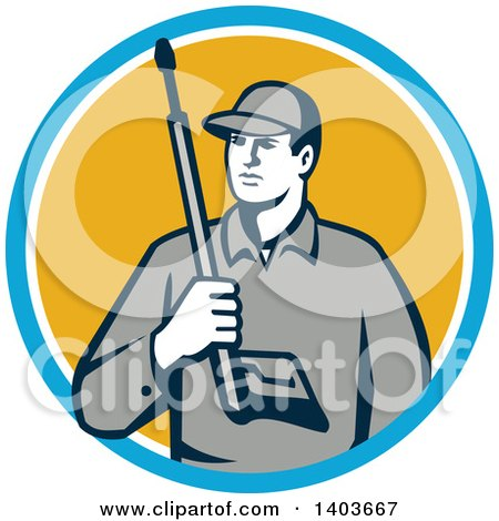 Clipart of a Retro Male Pressure Washer Worker Holding a Washing Gun in a Blue White and Yellow Circle - Royalty Free Vector Illustration by patrimonio