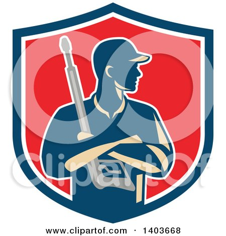 Clipart of a Retro Male Pressure Washer Worker Holding a Washing Gun in Folded Arms in a Blue White and Red Shield - Royalty Free Vector Illustration by patrimonio