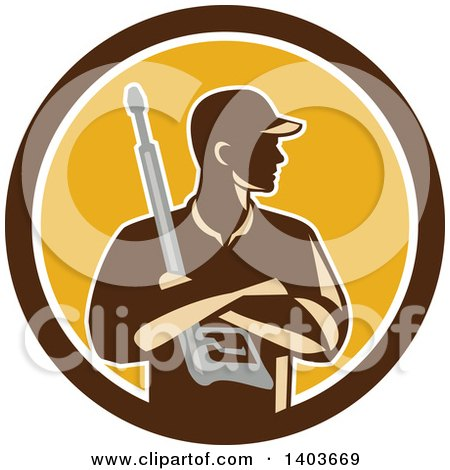 Clipart of a Retro Male Pressure Washer Worker Holding a Washing Gun in Folded Arms in a Brown White and Yellow Circle - Royalty Free Vector Illustration by patrimonio