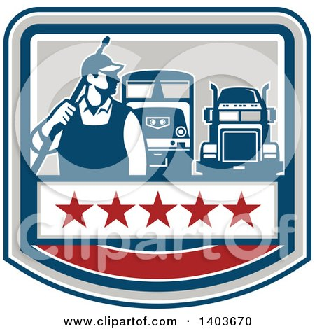 Clipart of a Retro Male Pressure Washer Worker Standing with a Wand over His Shoulder with Big Rig Trucks over a Banner with Stars - Royalty Free Vector Illustration by patrimonio