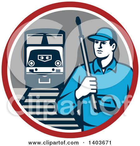 Clipart of a Retro Male Pressure Washer Worker in a Circle with a Train and Tracks - Royalty Free Vector Illustration by patrimonio
