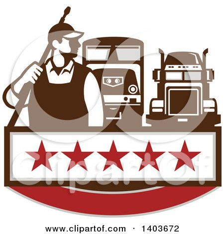 Clipart of a Retro Male Pressure Washer Worker Standing with a Wand over His Shoulder and Big Rig Trucks over a Banner with Stars - Royalty Free Vector Illustration by patrimonio