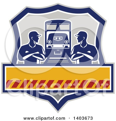 Clipart of Retro Male Engineer Workers with Folded Arms, Looking at Each Other by a Train in a Shield - Royalty Free Vector Illustration by patrimonio