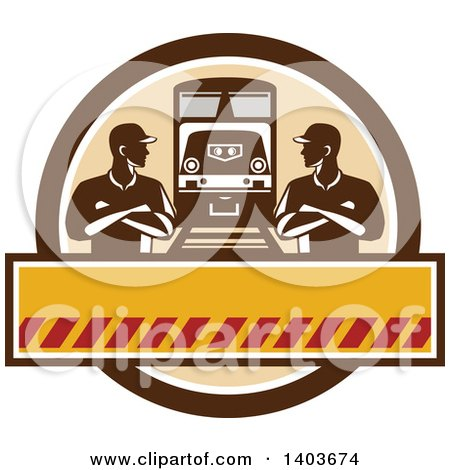 Clipart of Retro Male Engineer Workers with Folded Arms, Looking at Each Other by a Train in a Brown Circle - Royalty Free Vector Illustration by patrimonio
