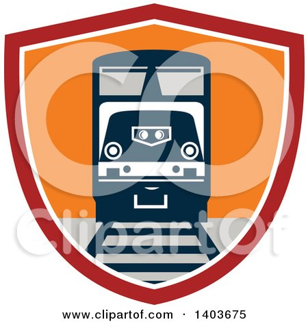 Clipart of a Retro Diesel Freight Train on a Track in a Red White and Orange Shield - Royalty Free Vector Illustration by patrimonio