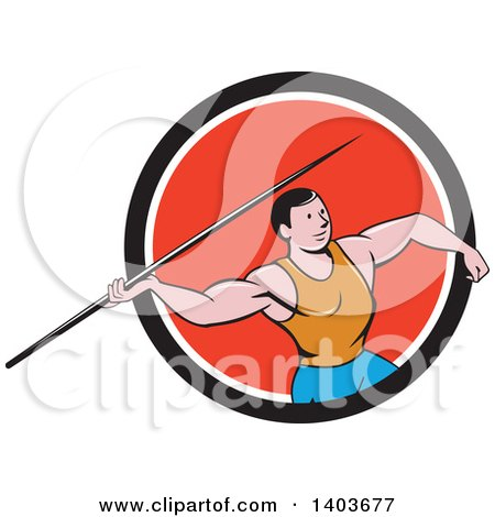 Clipart of a Retro Cartoon Male Track and Field Javelin Thrower in a Black White and Red Circle - Royalty Free Vector Illustration by patrimonio