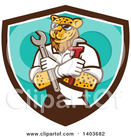 Clipart of a Leopard Plumber or Mechanic Holding Spanner and Monkey Wrenches in Folded Arms in a Brown White and Turquoise Shield - Royalty Free Vector Illustration by patrimonio