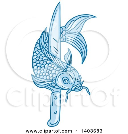 Clipart of a Sketched Blue Koi Fish with a Knife - Royalty Free Vector Illustration by patrimonio
