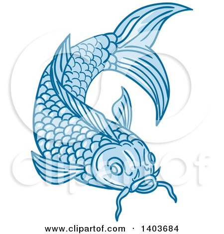 Clipart of a Sketched Blue Koi Fish - Royalty Free Vector Illustration by patrimonio