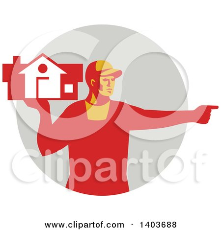 Clipart of a Retro Male House Remover or Mover Holding a Home and Pointing, in Red Tones over a Gray Circle - Royalty Free Vector Illustration by patrimonio