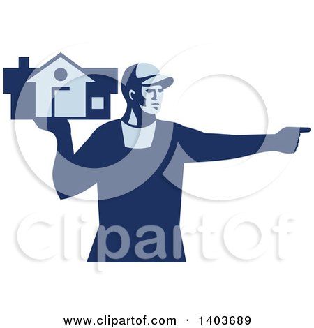 Clipart of a Retro Male House Remover or Mover Holding a Home and Pointing, in Blue Tones - Royalty Free Vector Illustration by patrimonio