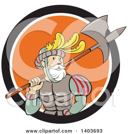 Clipart of a Retro Cartoon Spanish Conquistador Carrying a Sword and Axe in a Black White and Orange Circle - Royalty Free Vector Illustration by patrimonio