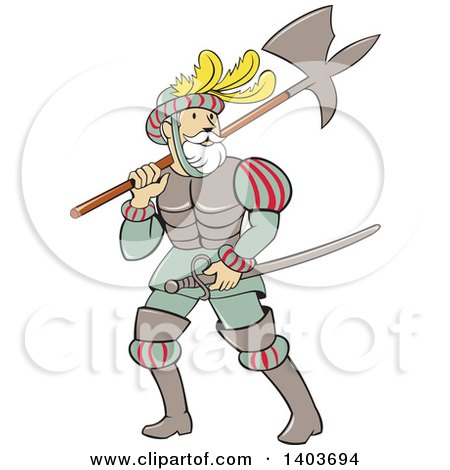 Clipart of a Retro Cartoon Spanish Conquistador Carrying a Sword and Axe - Royalty Free Vector Illustration by patrimonio