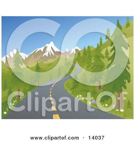 Two Laned Road Winding Up A Mountain Between Evergreen Trees During Spring or Summer Clipart Illustration by Rasmussen Images