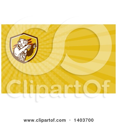Clipart of a Bear and Yellow Rays Background or Business Card Design - Royalty Free Illustration by patrimonio