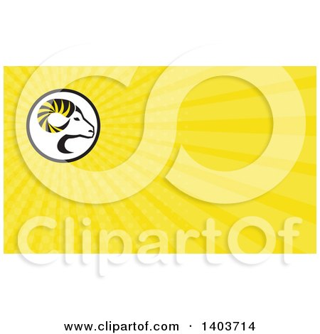 Clipart of a Retro Profiled Dall Sheep Ram Head with Curling Horns and Yellow Rays Background or Business Card Design - Royalty Free Illustration by patrimonio