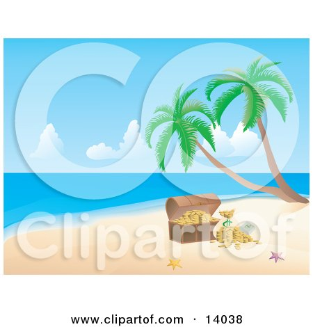 Pink and Orange Starfish on White Sand By a Treasure Chest With Gold on a Tropical Beach With Palm Trees Posters, Art Prints