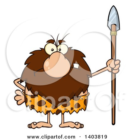 Cartoon Clipart of a Mad Caveman Mascot Character Standing with a Spear - Royalty Free Vector Illustration by Hit Toon