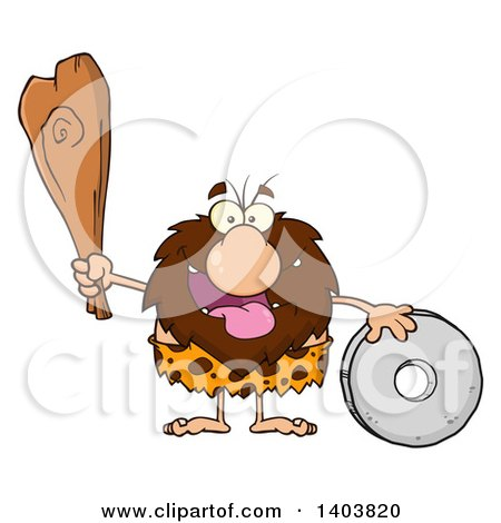 Cartoon Clipart of a Caveman Mascot Character Holding a Club and Standing with a Wheel - Royalty Free Vector Illustration by Hit Toon