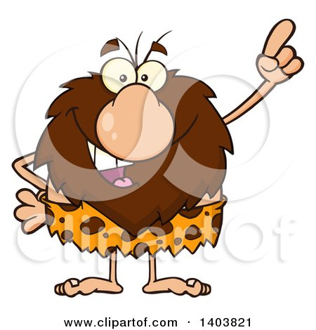 Cartoon Clipart of a Caveman Mascot Character Holding up a Finger - Royalty Free Vector Illustration by Hit Toon