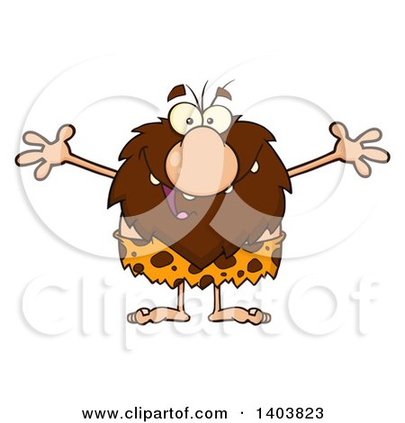Cartoon Clipart of a Caveman Mascot Character Wanting a Hug - Royalty Free Vector Illustration by Hit Toon
