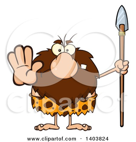 Cartoon Clipart of a Mad Caveman Mascot Character Holding a Spear and Gesturing Stop - Royalty Free Vector Illustration by Hit Toon