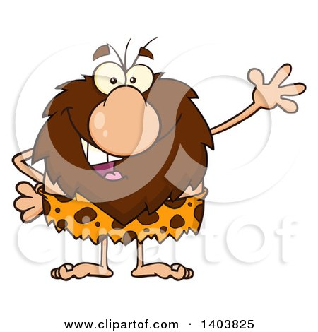 Cartoon Clipart of a Friendly Waving Caveman Mascot Character - Royalty Free Vector Illustration by Hit Toon