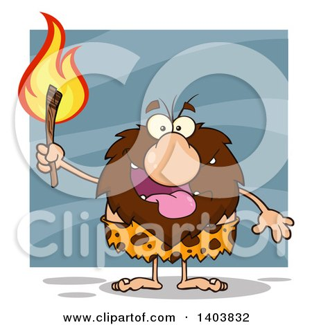 Cartoon Clipart of a Caveman Mascot Character Carrying a Torch, on Blue - Royalty Free Vector Illustration by Hit Toon