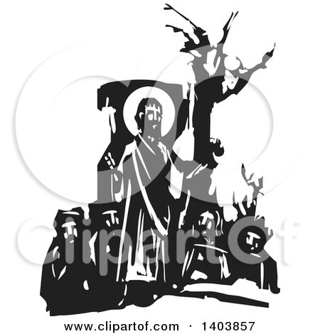 Clipart of a Black and White Woodcut Scene of Jesus Christ and Men - Royalty Free Vector Illustration by xunantunich