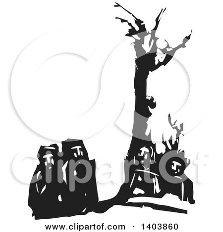 Clipart of a Black and White Woodcut Group of Men Under a Dead Tree - Royalty Free Vector Illustration by xunantunich