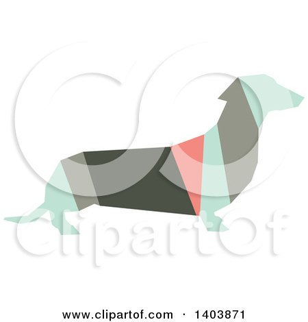 Clipart of a Retro Geometric Colorful Profiled Dachshund Dog - Royalty Free Vector Illustration by Cherie Reve