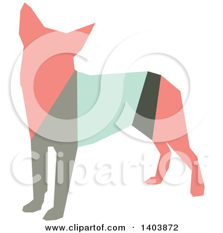 Clipart of a Retro Geometric Colorful Profiled Chihuahua Dog - Royalty Free Vector Illustration by Cherie Reve